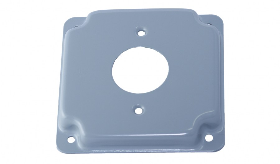 "4""Square Surface CoversRaised 1/2"", 1.406"" Single receptacle"