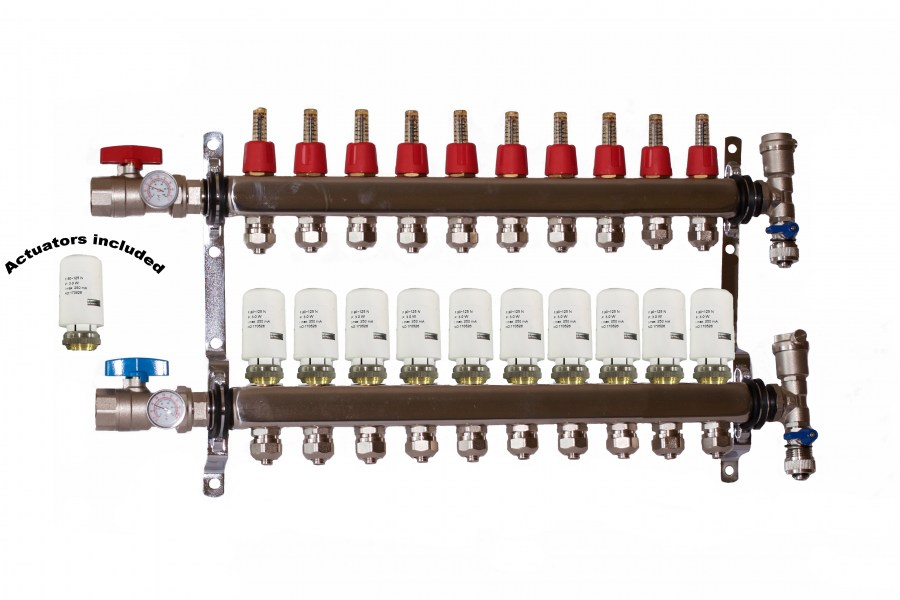 10 - Loop/Port Stainless Steel PEX Manifold Radiant Heating with 4 wires actuator