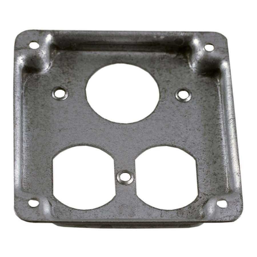 "4""Square Surface Cover, Raised 1/2"", 1 Duplex Receptacle /1.406"" dia"