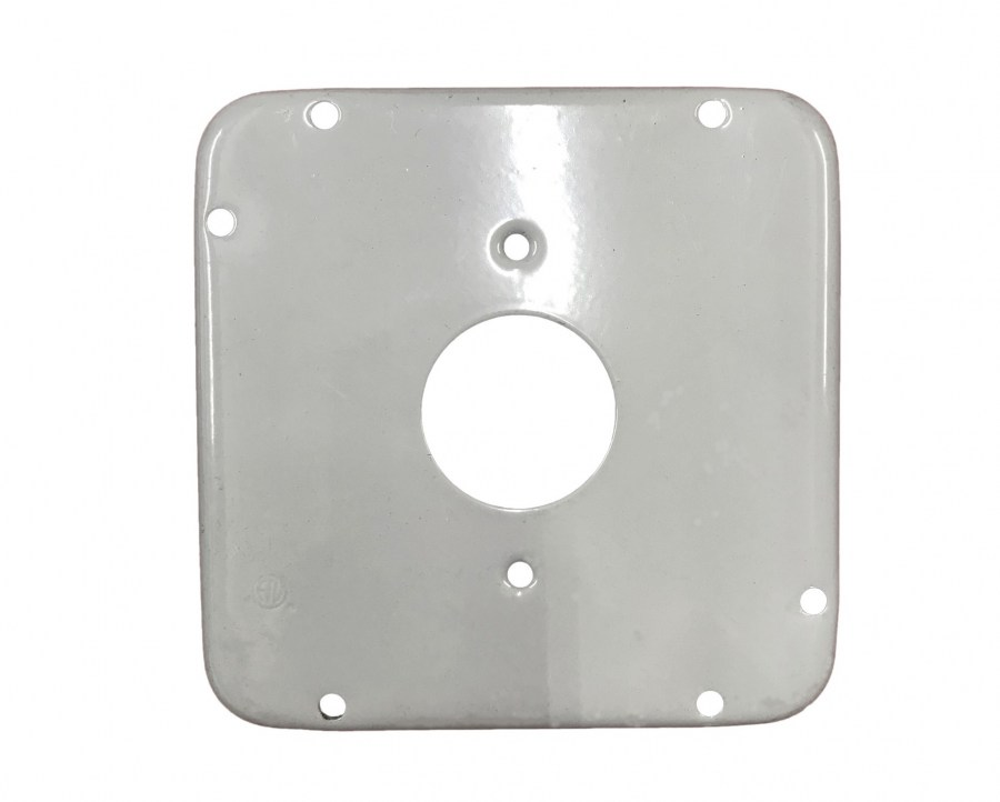 "4-11/16"" Square Covers, Single receptacle 1.594 dia"