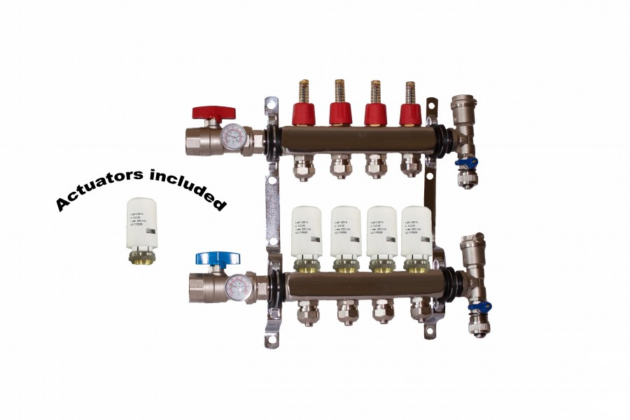 4 - Loop/Port Stainless Steel PEX Manifold Radiant Heating with 4 wires actuator
