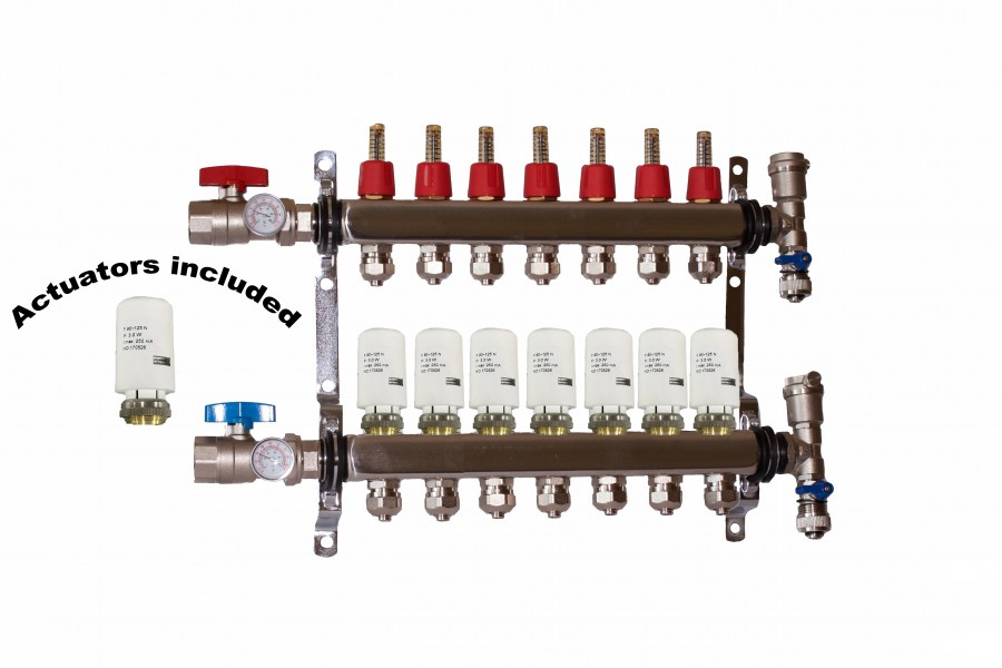 7 - Loop/Port Stainless Steel PEX Manifold Radiant Heating with 4 wires actuator