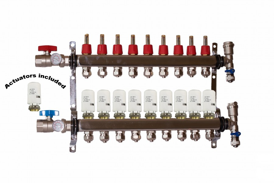 9 - Loop/Port Stainless Steel PEX Manifold Radiant Heating with 4 wires actuator