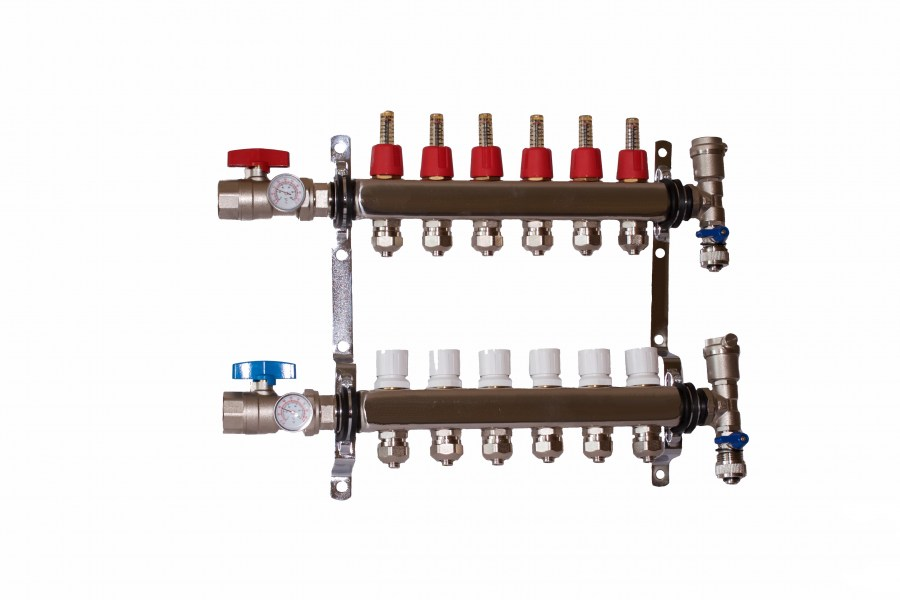 6 - Loop/Port Stainless Steel PEX Manifold Radiant Heating