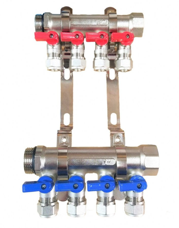 "3/4"" 4 Loops Ball Valve Brass Pex Manifold for 1/2"" Pex Tubing w/ brackets"