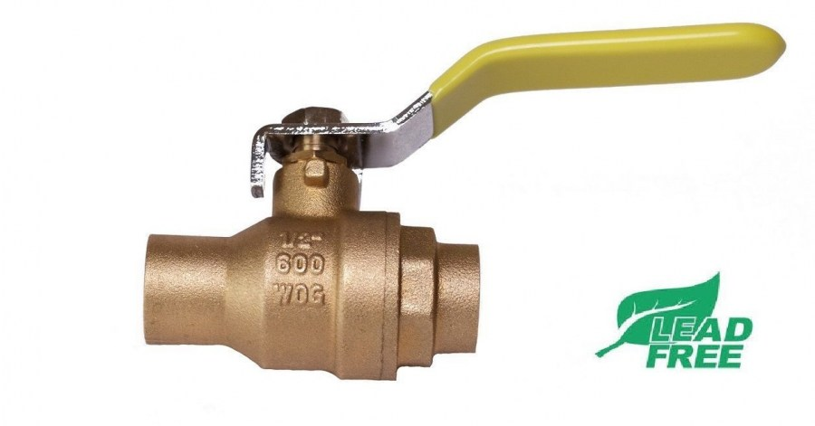 Sweat (CxC) Brass Ball Valve Full Port Shut-Off 600psi WOG Lead free