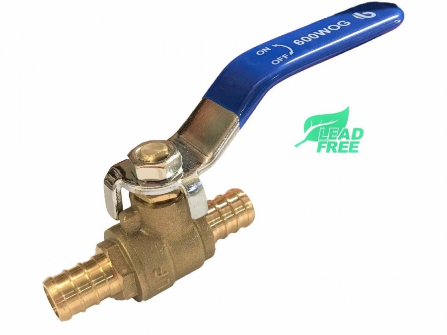 PEX Brass Ball Valve, Full Port, Crimp, Shut-off Valves for PEX Tubing