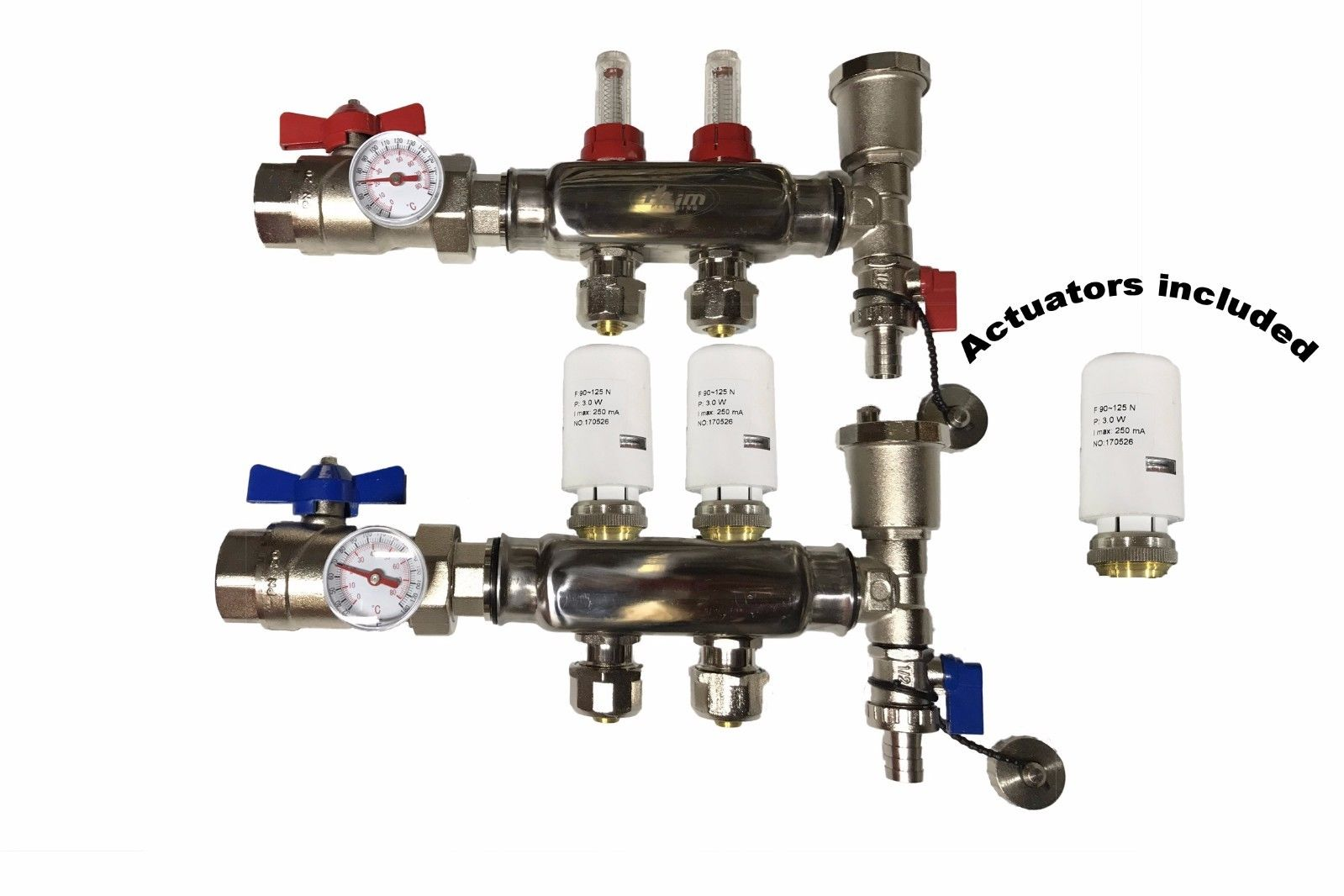 Pex Manifold 2 Loop Port Stainless Steel Radiant Wire Actuator Wiring Heating With 4 Wires